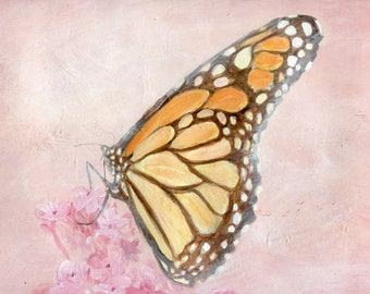Sunset Monarch -giclee print of original painting 8x10 or 11x14