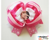 """Justin Bieber Hot Pink, White and Light Pink  4.5"""" Hair Bow"""