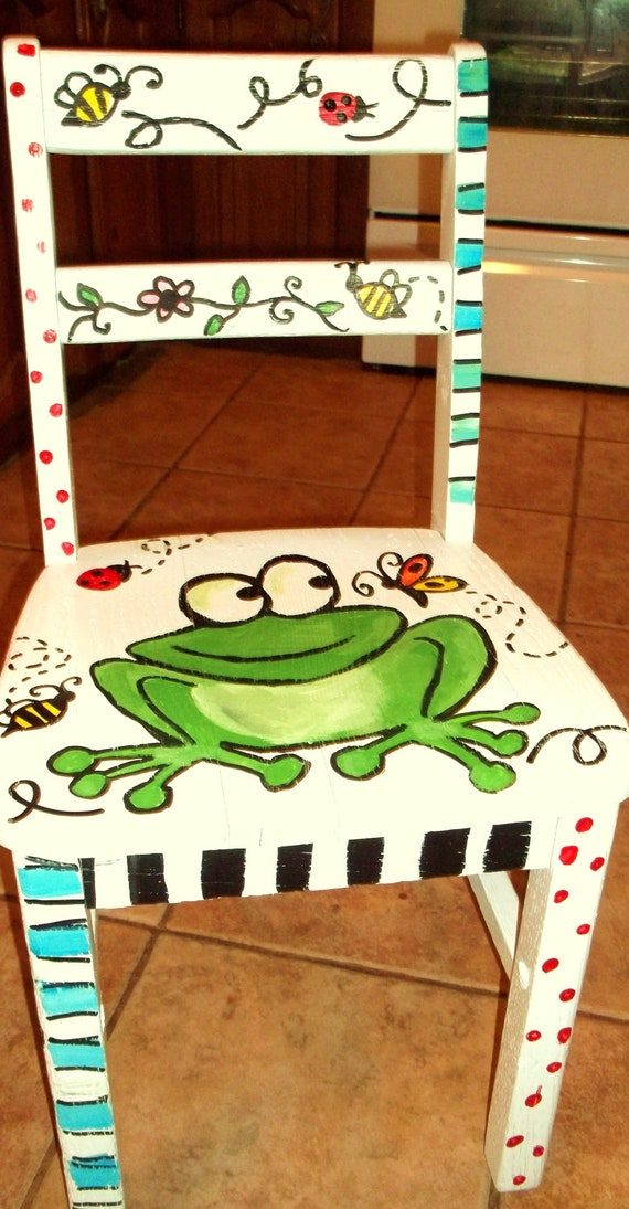 Items similar to hand painted furniture childrens on etsy for Painting designs on wood furniture