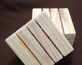 """Four Wooden Soap dish dishes gift item favors for wedding 3 1/2""""x3 1/2"""""""