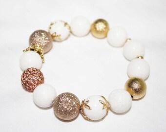 White and Gold Stone Beads Bracelet