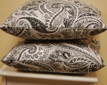 Decorative Pillow Cover Paisley Premier Prints Black White, 16 inch pillow cover with invisible zipper closure