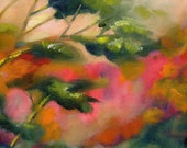 Original oil painting 16 by 20 impressionistic landscape wall hanging colorful gallery wrapped Nancy Jones