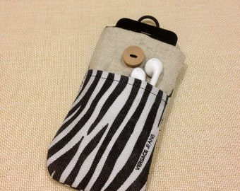 Zebra pattern handmade iPhone sleeve, iPod touch pouch, Kindle case, Samsung galaxy cover, smart cellphone cover, padded