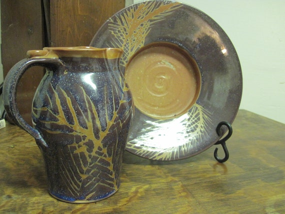 Judith Duff Pottery Ceramic Pitcher And Plate Circa 1990