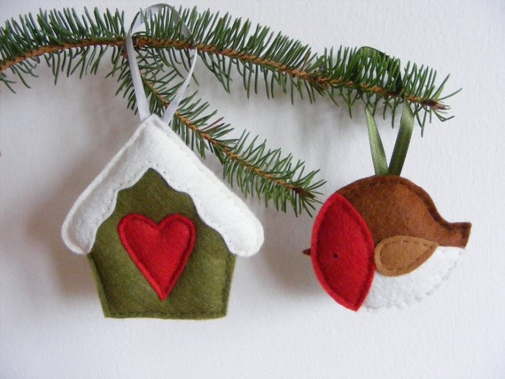 Diy Christmas Ornaments Etsy : Pdf pattern set of two christmas tree ornaments felt robin