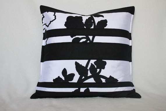 RESERVED FOR STEPHANIE Black and white Stripe Floral Silhouette Quilt Decorative Pillow cover