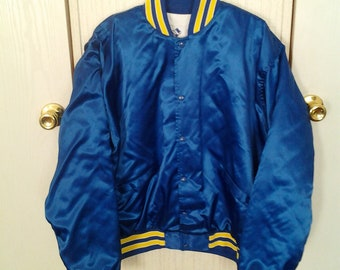 Vtg Royal Blue Throwback Satin Jacket New