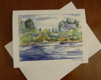 English Countryside Watercolor Print All Occasion Note Card by Sally Crisp