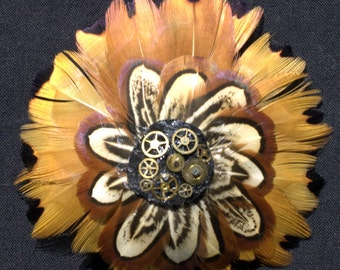 Handmade Steampunk Gold and Cream Pheasant Feather Rosette Pin