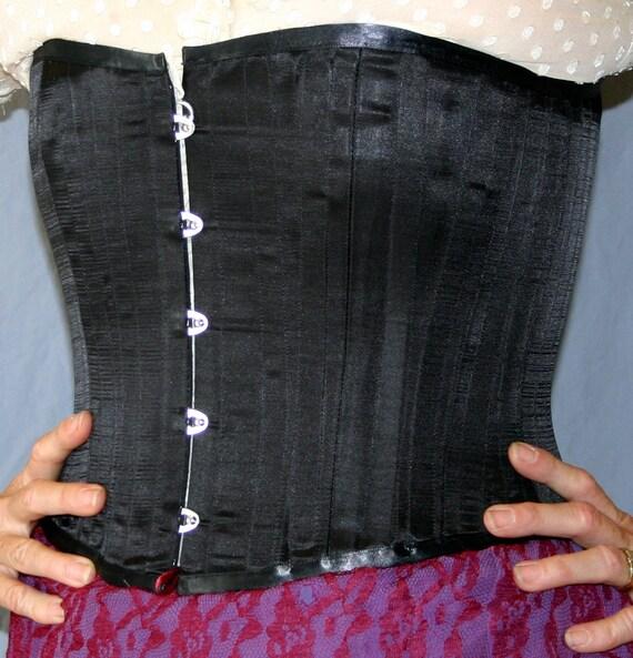Handmade Black Satin Steel-Boned Corset size 12