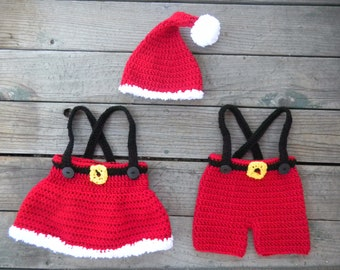 2 Pattern Deal -- Santa Suit and Skirt Set Crochet Pattern -- Pattern includes sizes newborn through toddler (1-3 Years)
