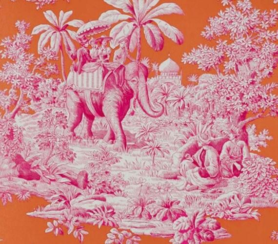 Manuel canovas 39 bengale 39 pink and orange toile - Papier peint toile de jouy rouge ...