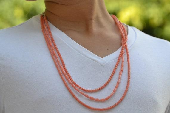 SALE Genuine Natural Pink Coral multistrand necklace,Angel skin pink coral, Salmon pink coral necklace,  925 SterlingSilver  Summer necklace