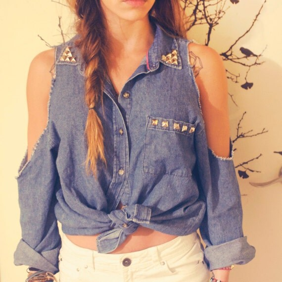 Jean shirt with stud detail and cutout shoulders