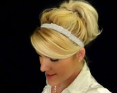 Frosted pale grey small bow stretch headband feminine/romantic/classic