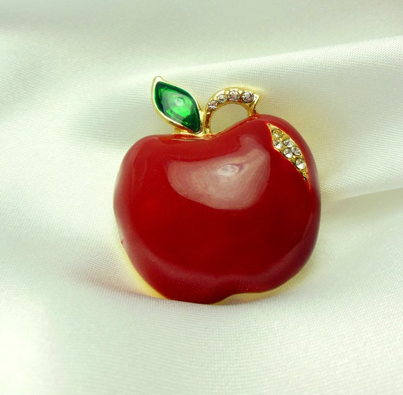 Rhinestone Apple Brooch