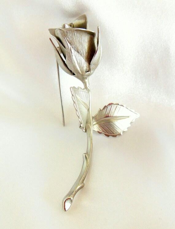 Vintage Rose Brooch in Sliver by Giovanni