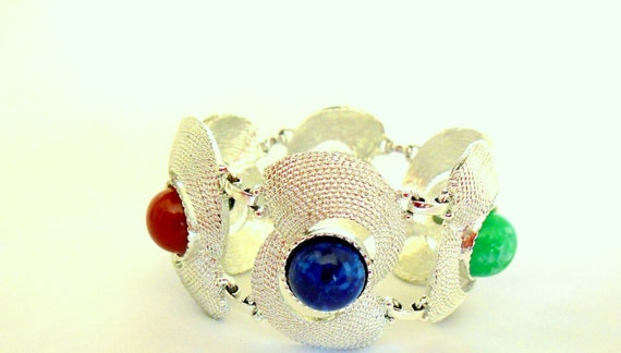 Sarah Coventry Multi Swirl Bracelet Silver with Muticolor Cabochons