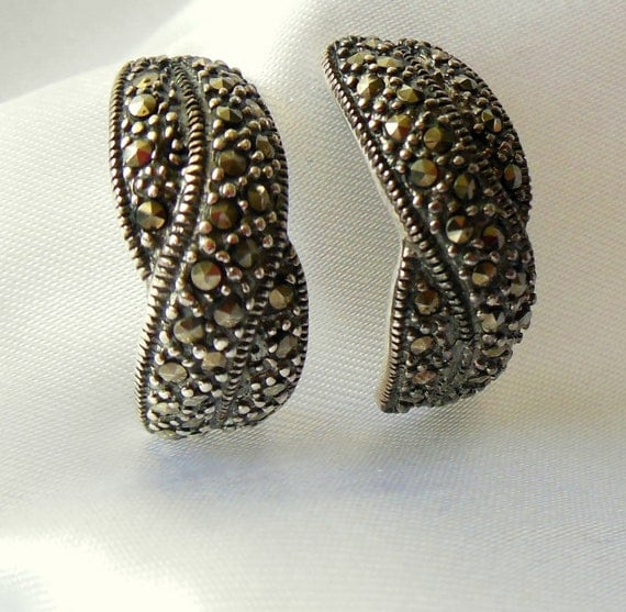 Vintage Sterling Silver Earrings with Marcasite