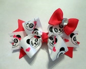 Panda Bear Hair Bow