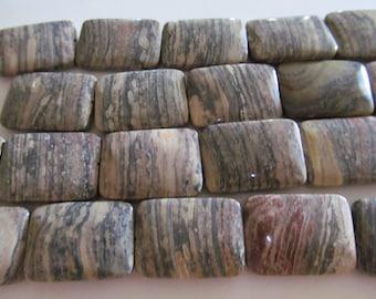 Jasper gemstones rectangle striped beads