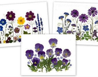 Notecards - Set of 6 Pressed Flower Cards - Made in Vermont - #040