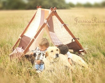 Photography Props Tent Frame and Patchwork Cover Brown Outdoor Photography Prop Kids Photo Prop Children Photography Prop Outdoor