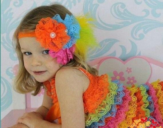 Boutique Style Rainbow Lace Petti Romper - Small