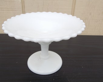 Vintage Westomoreland Round Milk Glass Pedestal Compote Bowl With Crimped Edge