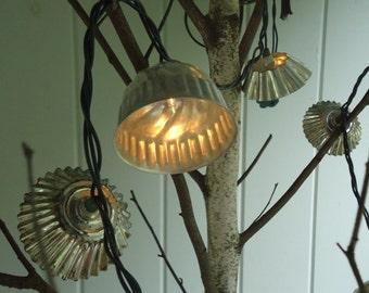 Wedding String Lights  Christmas Twinkle Lights Cottage Chic Decor Vintage Tartlet Pan Shades
