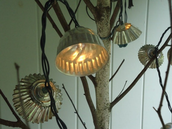 Wedding String Lights  Christmas Twinkle Lights Cottage Chic Decor Vintage Tartlet Pan Shades