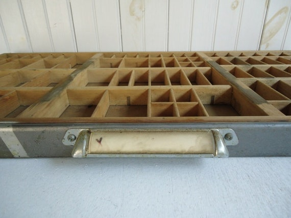 Vintage Letterpress Tray, Wedding Decor, Table Number Card Tray