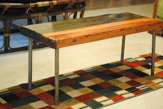 Metal leg coffee table, red and ebony stain