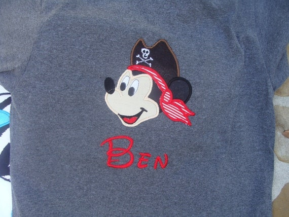 Custom Mickey Mouse Pirate Shirt Personalized in Disney Font