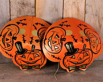 Pair 1950s Halloween Cardboard Party Hats Pumpkins Bats