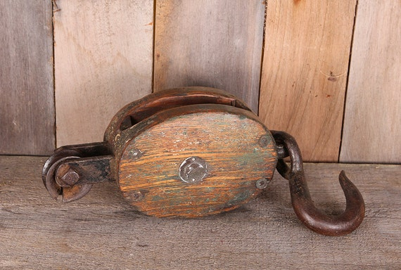 Vintage Wooden and Steel Nautical Boat Pulley