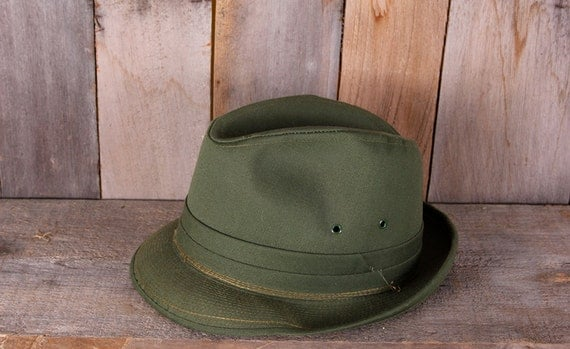 RESERVE ITEM - Vintage 1970s Green Fishing Outdoors Casual Rain Fedora Size 6 7