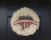Simple Burlap Wreath with God Bless America Banner
