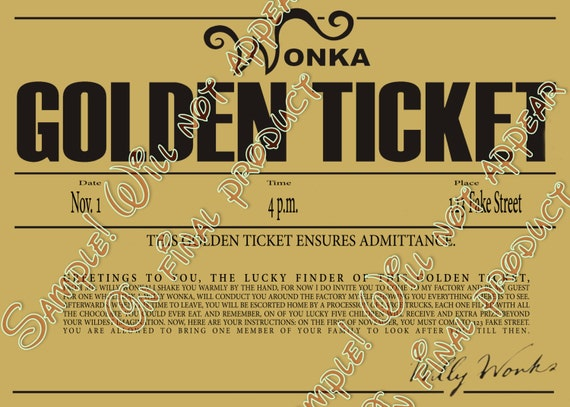 image about Printable Golden Tickets titled 7 Least difficult Pics Of Editable Printable Wonka Golden Ticket . 7