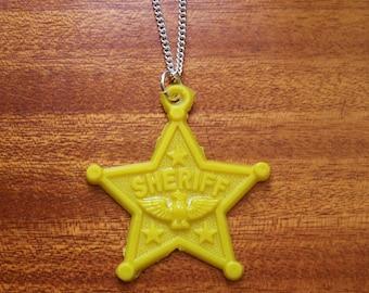 Yellow Sheriff Badge Necklace