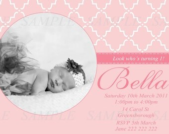 Personalised 1st Birthday Invitation - DIY Printing - JPEG File