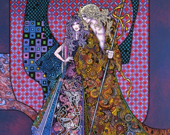 Fine Art Print Diarmuid and Gráinne 23x16. Fantasy Art, Print, Art Nouveau, Irish, Ireland art, Abstract art, Celtic, Wall art, Original.