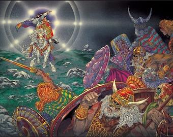 "Celtic Irish Fantasy Art 'Lugh Attacks The Fomor Army' Signed Print 16x11"". Ireland, Battle, Warrior, Wizard, Witchcraft, Warcraft."