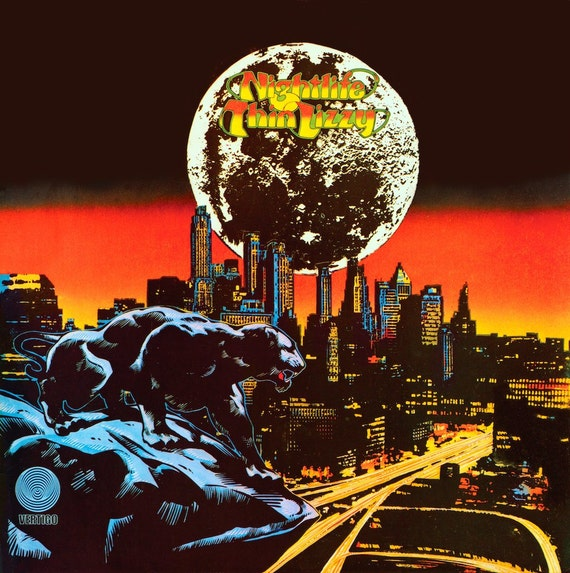 Vintage Album Art Thin Lizzy Nightlife Album Cover Print 16x11. Psychedelic Art, 1970s, Vintage Vinyl Art, Vintage Print, Retro Art Prints.