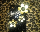 Gold and black Gucci daisy iPhone 4 case