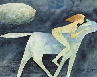 Cloud Racing - original watercolor painting - surreal fantasy fairytale watercolour - horse rider - symbolism - illustration - narrative art