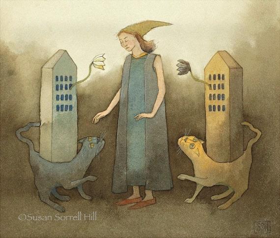 Contemplation - original watercolor painting - surreal fairy tale art - cat towers woman choosing choice