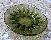 Vintage Ashtray Green Glass Basketweave Pattern