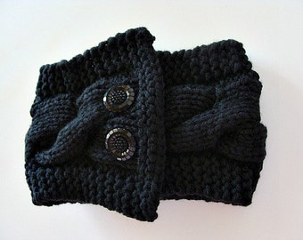Knitted Black Cable Cowl With Buttons